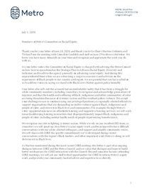 Letter from Metro Council to Metro's Committee on Racial Equity
