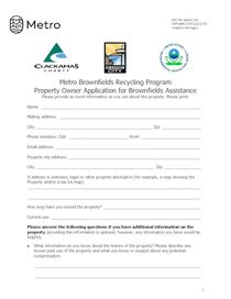 Brownfields property owner application for assistance