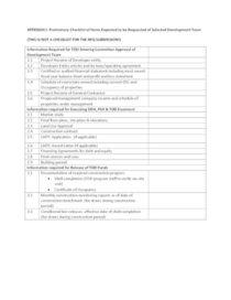 Appendix I: Preliminary due diligence checklist