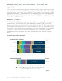 Housing bond quarterly progress report: April to June 2021