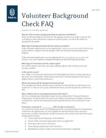 Volunteer background check FAQ