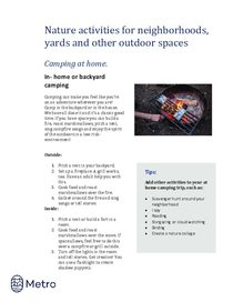 Nature activities for neighborhoods - camping