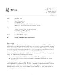 Housing Bond Preparedness Management Letter