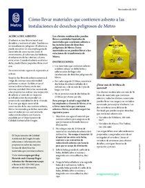Cómo llevar materiales que contienen asbesto a las instalaciones de desechos peligrosos de Metro