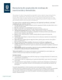 Formulario de Aceptación de residuos de construcción y demolición