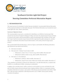 Southwest Corridor Steering Committee Preferred Alternative Report
