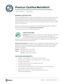 Premium Certified MetroPaint data sheet