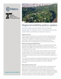 Regional mobility policy update fact sheet