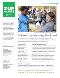 Nature in Neighborhoods Grants Factsheet