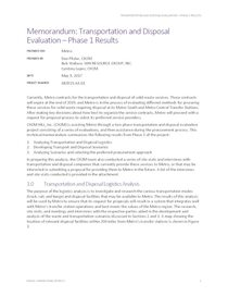 CH2M Memo on Transportation and Disposal Evaluation - Phase 1