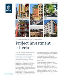 TOD program investment criteria