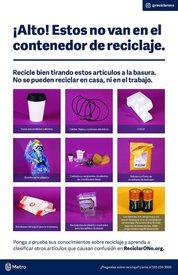 ¡Alto! Estos no van en el contenedor de reciclaje – póster en español
