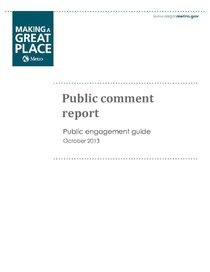 Public comment report on draft engagement guide