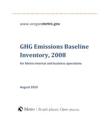 2008 GHG emissions inventory, baseline