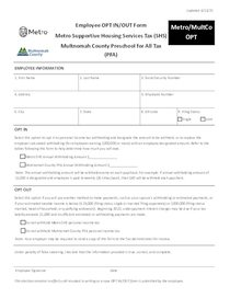 Metro and Multnomah County tax OPT form