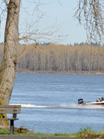 photo of speed boat going by Chinook Landing Marine Park