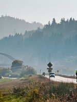 photo of the Sauvie Island Bridge and a cyclist