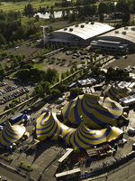 aerial view of the Expo Center during a Cirque du Soleil event