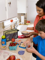 photo of mom and son making lunch