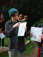 photo of students at the cemetery