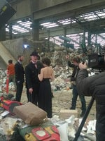 photo of a film shoot at a transfer station