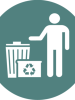 pictogram of garbage and recycling