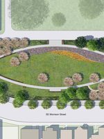 rendering of block 14 heritage garden and memorial