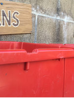 red recycling bins
