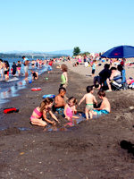 Visitors pack Broughton Beach