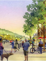 illustration of a walkable city or town center near a light rail