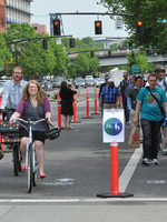Photo of bicyclists and pedestrians on Naito Parkway