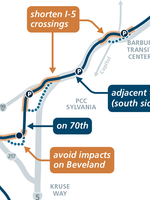 An image of the initial route proposal for the Southwest Corridor light rail.