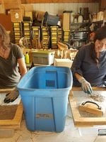 Two volunteers cleaning seeds at the Native Plant Center