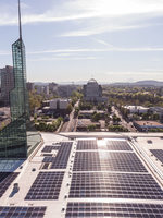 Aerial photo of solar array on the rooftop of the Oregon Convention Center
