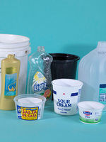 several examples of plastic bottles and containers that can be recycled at home