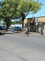 bicyclist crossing North Ivanhoe Street in St.Johns