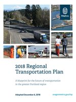 Cover of regional transportation plan; collage of transportation photos
