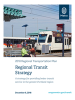 Cover of Regional transportation plan; photo of people boarding Max train and buspeople boarding Max train and bus;