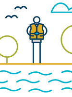 A stick figure person wears a life jacket as they stand on the edge of a river.