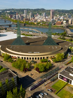 An aerial view of the Oregon Convention Center