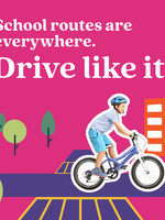 Safety campaign poster with text saying