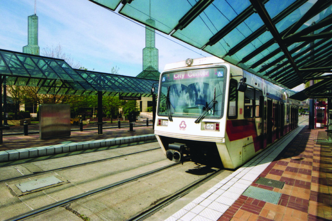 photo of a MAX train outside the convention center