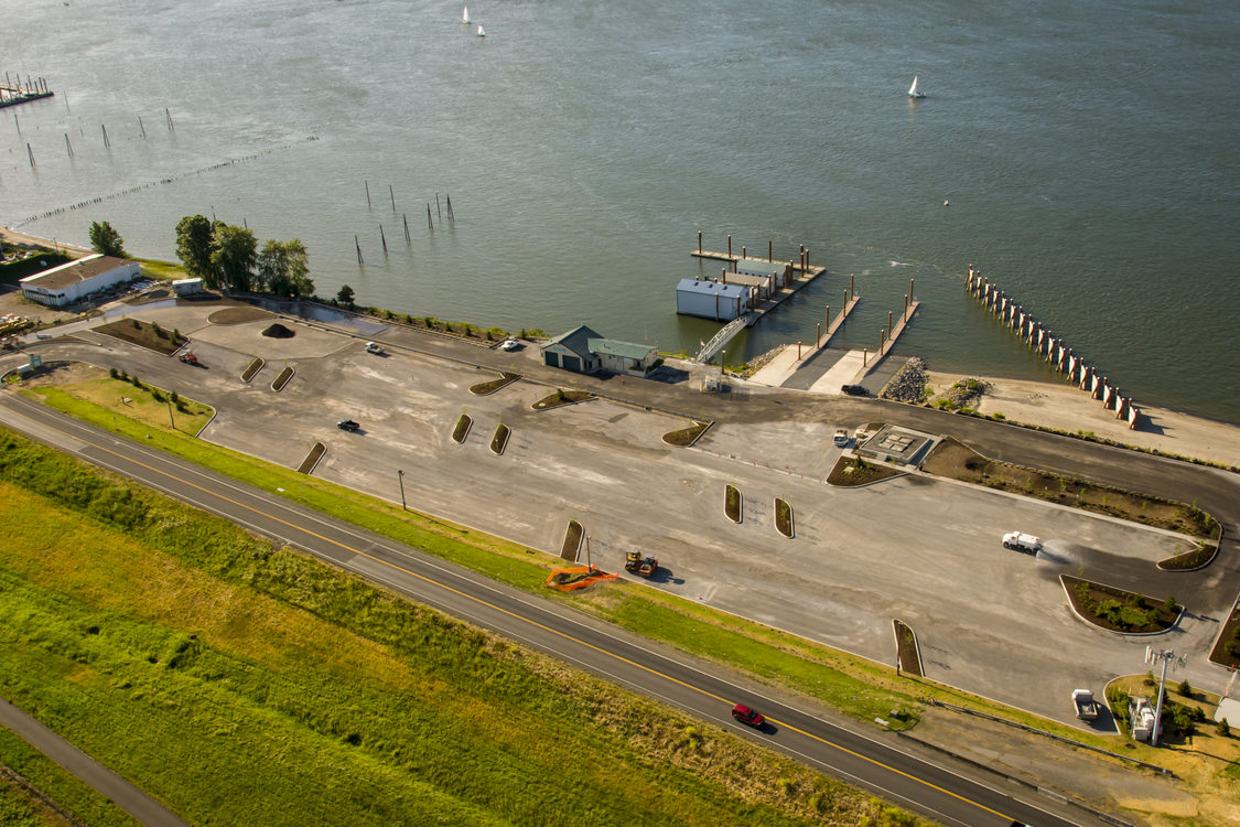 aerial view of the M. James Gleason boat ramp