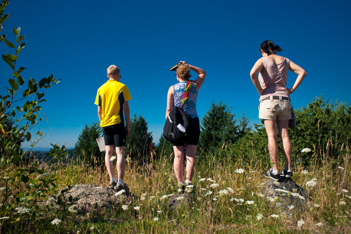 photo of three hikers at Scouters Mountain