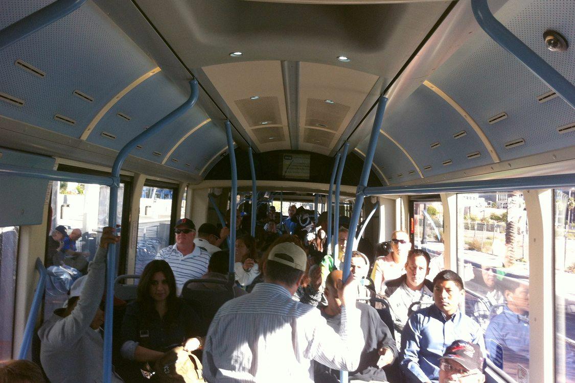 Crowded BRT bus