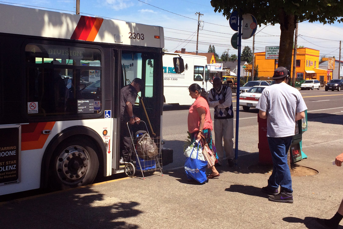 4-Division bus riders boarding