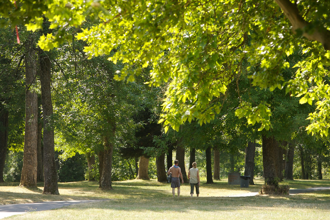 People walking underneath trees at Blue Lake Park
