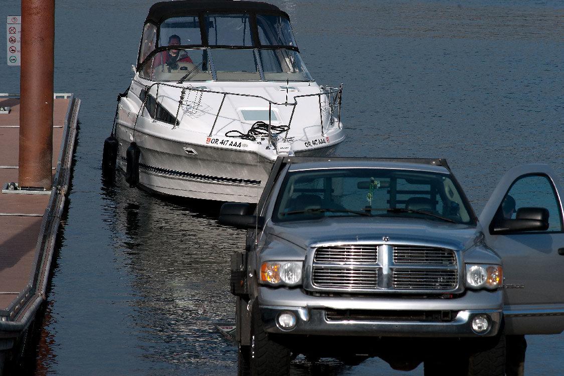 truck using the Gleason boat ramp
