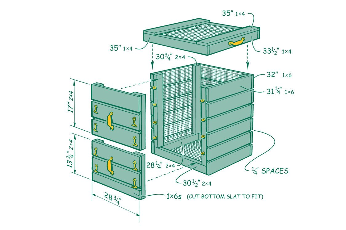 diagram of a wood and wire compost bin