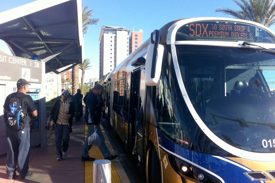 Boarding the SDX BRT bus in Las Vegas